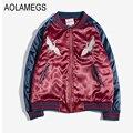 Aolamegs Yokosuka Birds Embroidery Jacket Men Women Thick Warm Cotton Padded Bomber Jackets Fashion Vintage Baseball Outwear