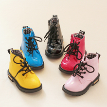Children Martin Boots PU Leather Waterproof Girls Boots Winter Lace-Up Non-slip Kids