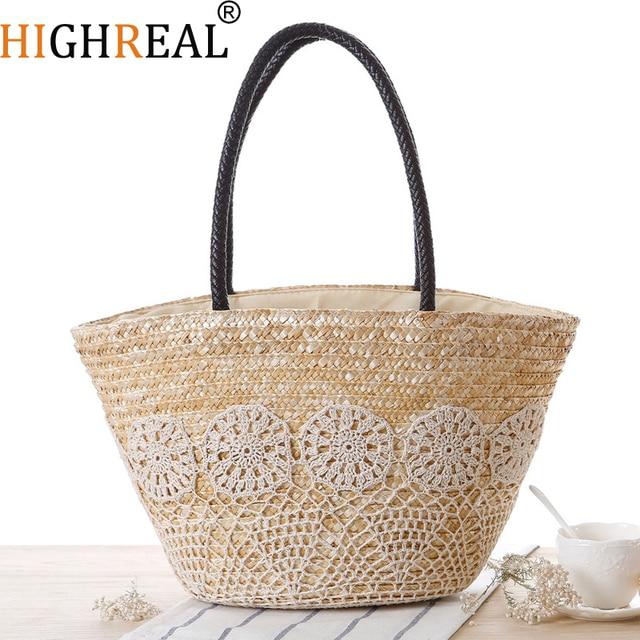6501c29e5 HIGHREAL Summer Beach Bag Straw Large Woven Straw Handbags Casual Big  Shoulder Bag Women Flowers Fashion Ladies Tote Bag C235
