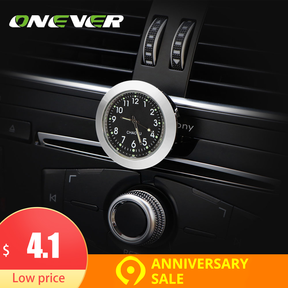 ONEVER Car Dashboard Clock Thermometer and Hygrometer for Car Interior Decoration