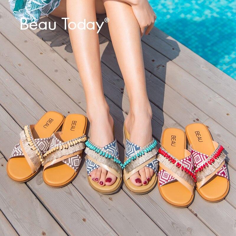 BeauToday Flat Slippers Women Sheepskin Genuine Leather Mixed Colors Fringe Beading Flat Slides Lady Summer Shoes