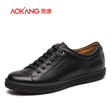 Aokang 2017 New Arrival Full Grain Leather shoes Men casual Shoes Flats shoes Comfortable lace-up shoes free shipping
