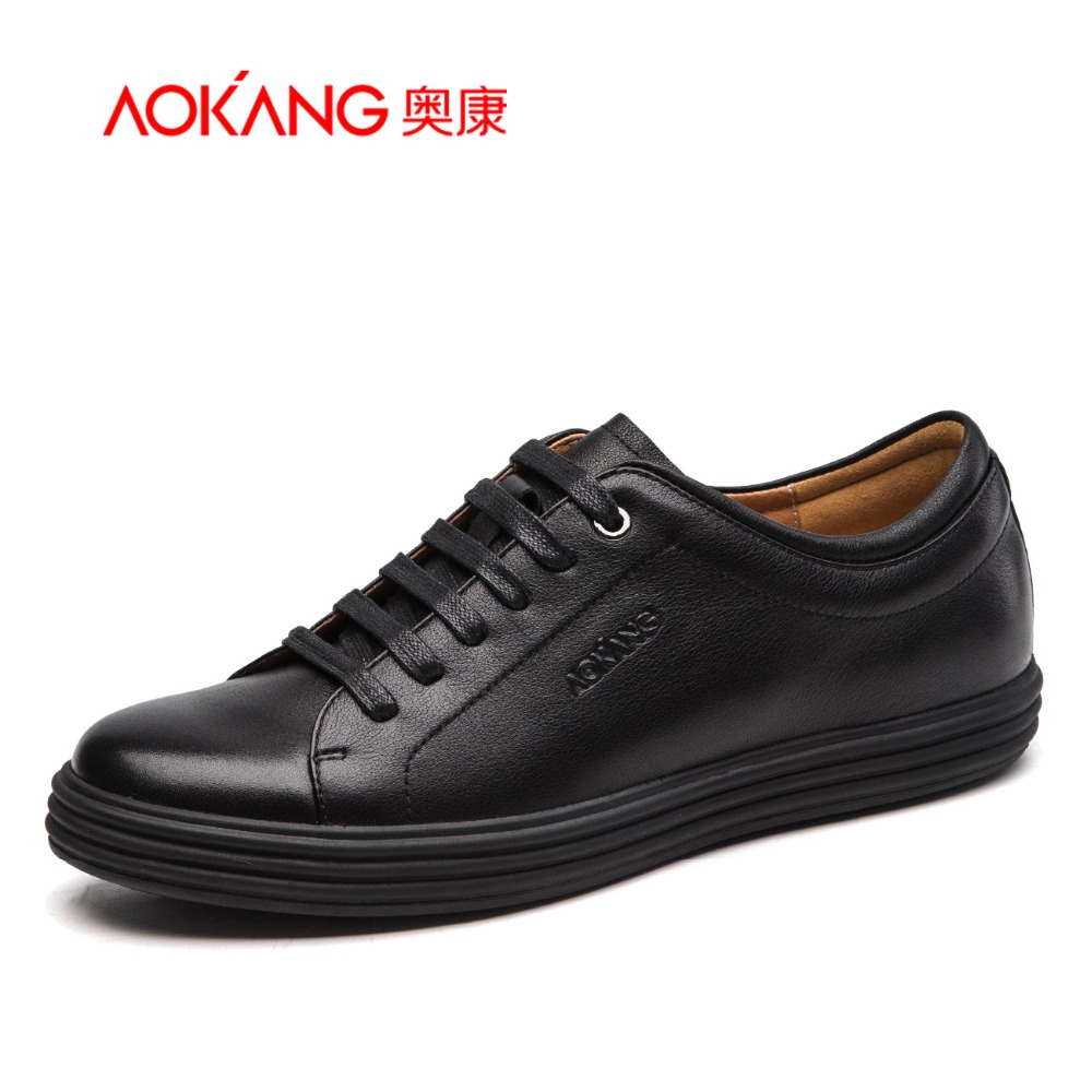 Aokang 2017 New Arrival Full Grain Leather shoes  Men casual Shoes Flats shoes Comfortable lace-up shoes free shipping free shipping 2017 new black brown autumn and winter full grain leather casual shoes men s fashion flats lace up shoes for men