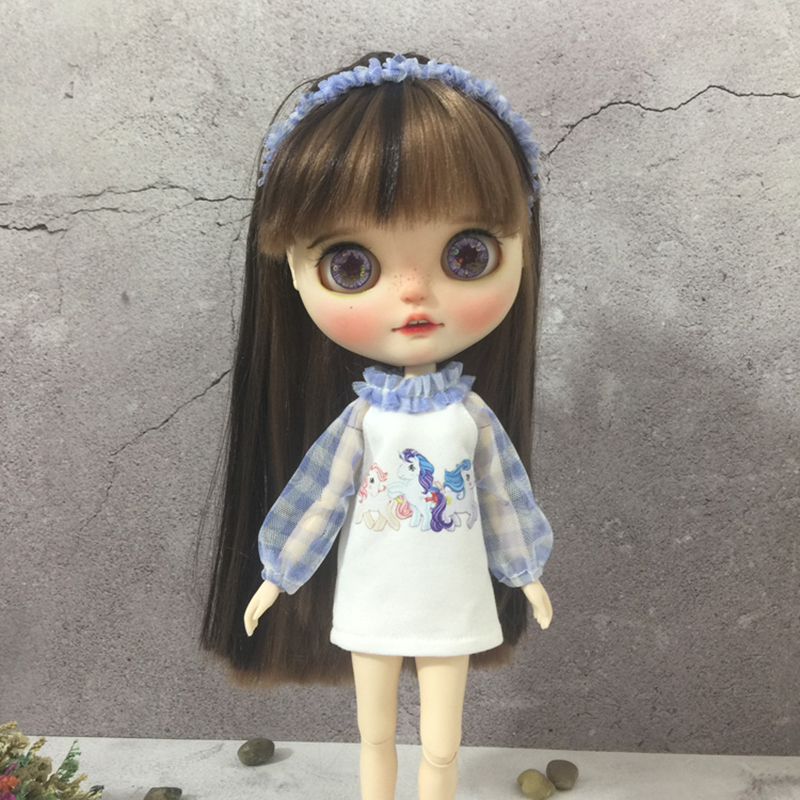 New 1/6 Doll Clothing Grid Long Sleeve Skirt For Blyth Doll Clothes For Barbies 30cm Dolls Ob24 Blyth Dress Dolls Accessories
