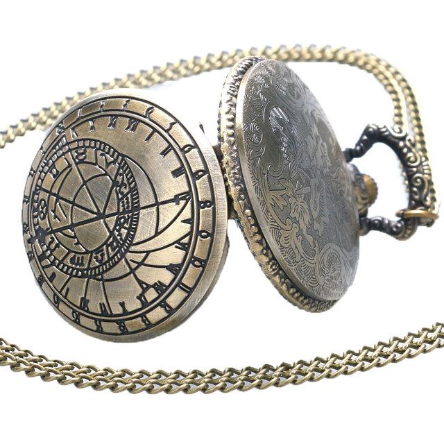 Relogio De Bolso (quartzo) Astrolabio Retro Compass Quartz Pattern Pendant Chain Pocket Watch Men Women Gifts
