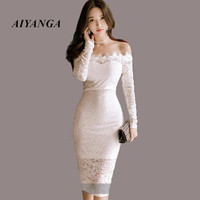 Sexy Hollow Out White Lace Dress Women Autumn Long Sleeve Slash Neck Off Shoulder Elegant 2017 Knee Length Dress Vestidos Skinny