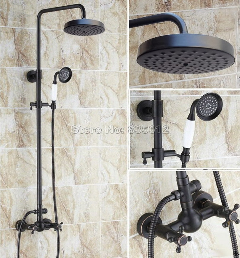 Black Oil Rubbed Bronze Bathroom Rain Shower Faucet Set with Handheld Shower Head / Wall Mounted Cross Handles Mixer Taps Wrs415