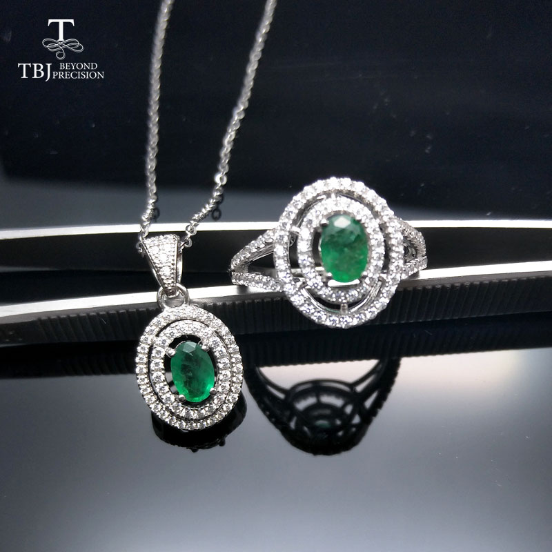 TBJ 100 natural zambia green 1ct emerald pendant ring jewelry set in 925 sterling silver with