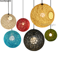 Vintage Wicker Pendant Light Loft Nordic Industrial Classical Indoor Lighting Bedroom Lamp Edison Bulb E27 Pendant