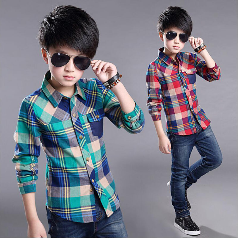 2018 Spring new Cotton Kids Clothes Fashion Casual Handsome Shirt for Children blouses Boys Plaid Long Sleeve dress Shirts classic plaid pattern shirt collar long sleeves slimming colorful shirt for men