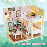 Toys for Girls DIY Wooden Pink Girl House Miniaturas with Furniture DIY Miniature House Dollhouse Girls Birthday Gifts M013 M026