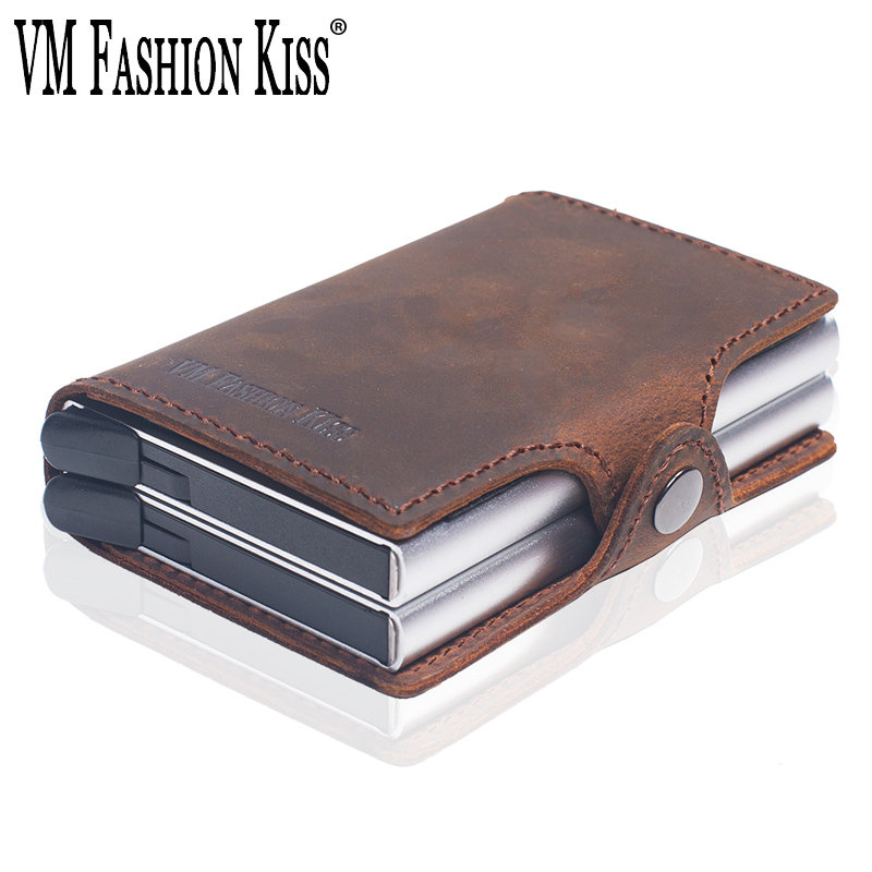 VM FASHION KISS RFID Crazy Horse Leather Mini Wallet Security Information Double Box Aluminum Credit Card Holder Metal Purse