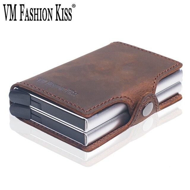 VM אופנה נשיקה RFID מטורף סוס עור מיני ארנק אבטחת מידע כפול תיבת אלומיניום אשראי כרטיס בעל מתכת ארנק