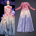 High Quality 2017 Spring Fall Runway Maxi Dresses Women's Long Sleeve Elegant Floral Print Celebrity Party Ball Gown Long Dress
