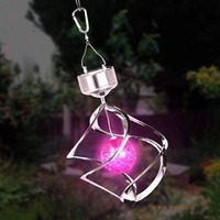 Solar Led colourful Wind Spinner LED Hang Spiral Garden Lawn LampWind Chime Wind Spinner Windchime Outdoor Garden Courtyard