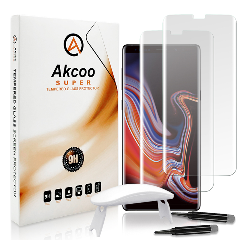 Akcoo Nota 9 protetor de vidro líquido cola completo USB com lâmpada UV para Samsung Galaxy S8 S9 Plus nota 8 cobertura completa S8 clear glass