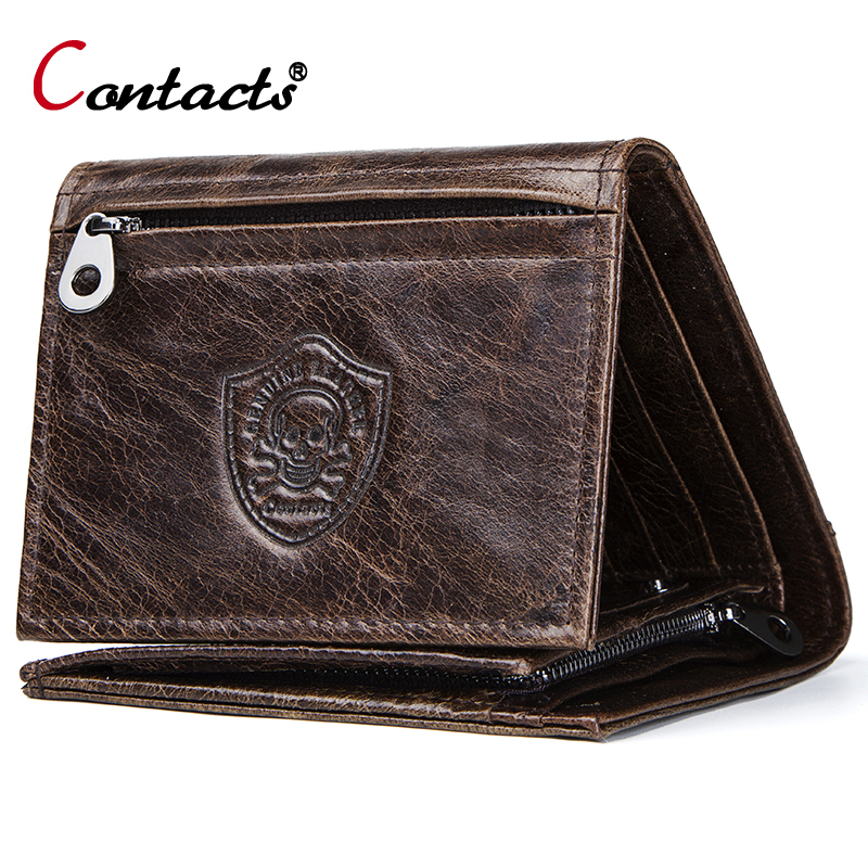 Contact's Brand Genuine Leather Men Wallet Coin Purse High Quality Male Short Purse Credit Card Holder Wallet Money Bag Clutch men wallet purse male short genuine true leather coin change card slot holder new model arrival hot high quality hipster fancy