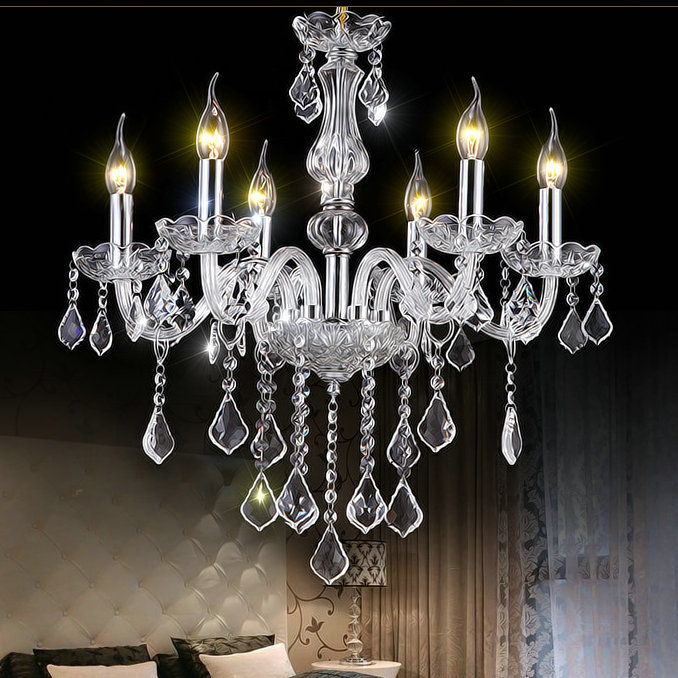 Real K9 crystal clear chandelier lustres de cristal lamparas home decorative lighting fixture for living room / Bedroom modern water plant chandelier creative wood glass lustres living room cafe clothing store decorative chandeliers lamparas de tec