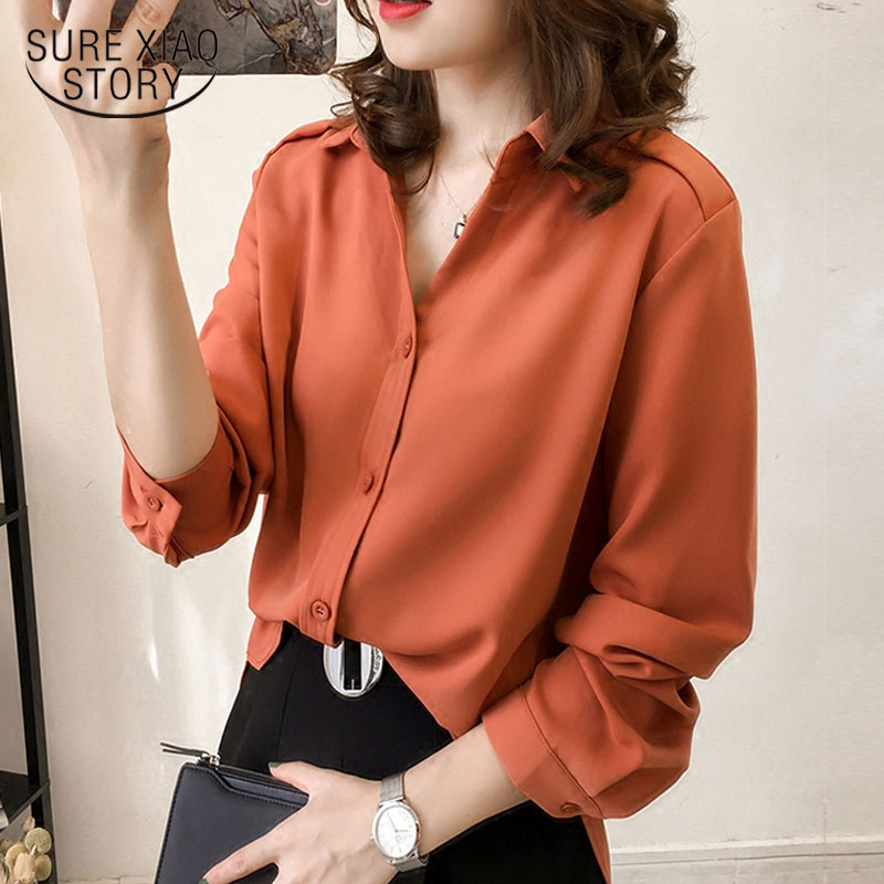 Plus Size Women Blouses 2019 Fashion Women Shirts Long Sleeve Chiffon Loose Feminine Blusas Clothes Office Lady Blouse 1689 50