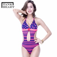 Tank Heart One Piece Dot Printed Bikinis Women Bathing Suit Swimsuit Swimwear Women Backless Push Up