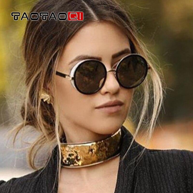 TAOTAOQI Nova Decoração Quadro Óculos Redondos Steampunk Óculos De Sol Das Mulheres Designer de Marca de Luxo Clássico Da Moda Óculos de Sol UV400