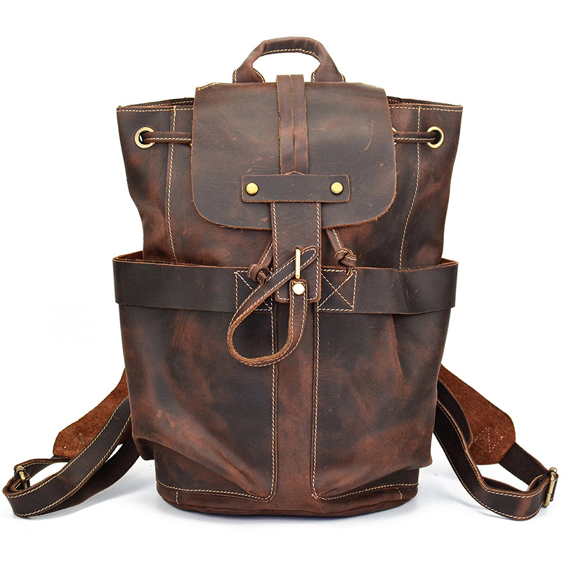 100% Genuine Leather Men's Backpack For Vintage Bag High Quality Male Shoulder Duffel Bag School Men Travel Laptop Bag