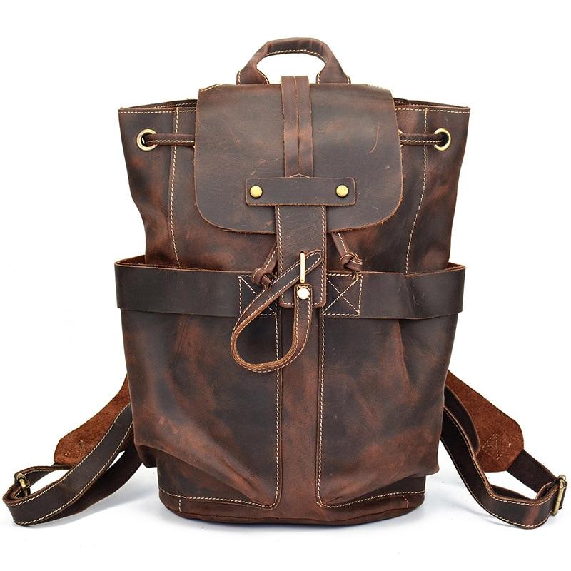 100% Genuine Leather Mens Backpack For Vintage Bag High Quality Male Shoulder Duffel Bag School Men Travel Laptop Bag100% Genuine Leather Mens Backpack For Vintage Bag High Quality Male Shoulder Duffel Bag School Men Travel Laptop Bag
