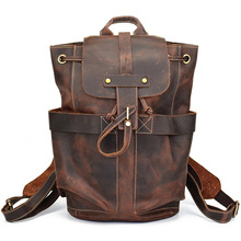 Vintage Leather Military Canvas Backpack Men's Backpack School Bag drawstring Backpack Travel Large Capacity Backpack Rucksack цена 2017