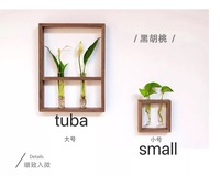 40x30cm plant frame hydroponics decorative painting Japanese style simple flower wall hanging wood flower stand living room