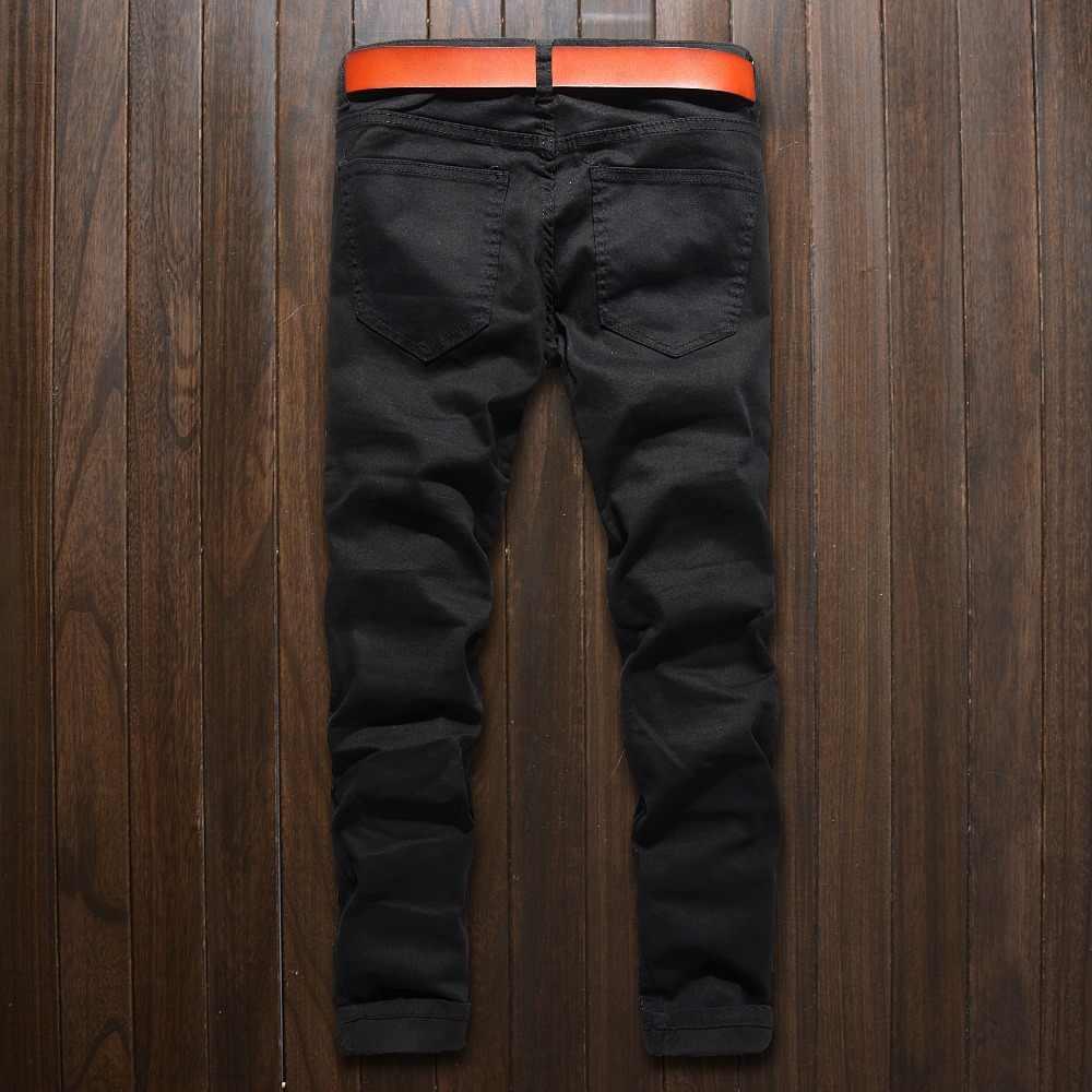 d31e4d45ff 2017 new Men skinny Jeans Design Fashion Biker Runway Hip hop Slim Jeans  Knee zipper Hole Distressed Jeans Men ripped jeans