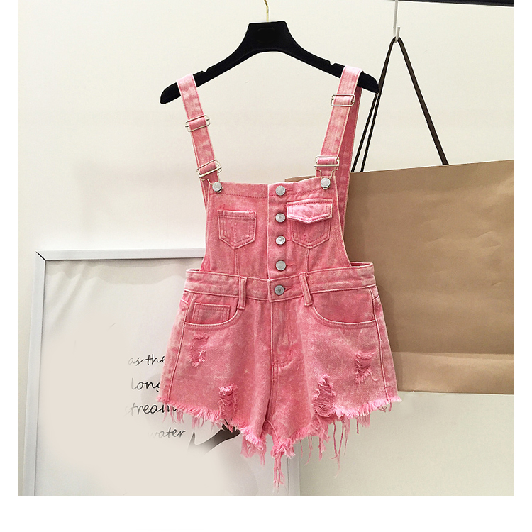 New style college wind cowboys back to wear shorts women summer holes loose Korean version of students show thin suspenders pants (19)