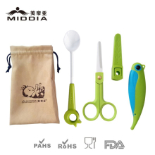 Middia Ceramic Baby Food Scissors and Spoon with Folding Knife Set Pocket Knife for Baby Products