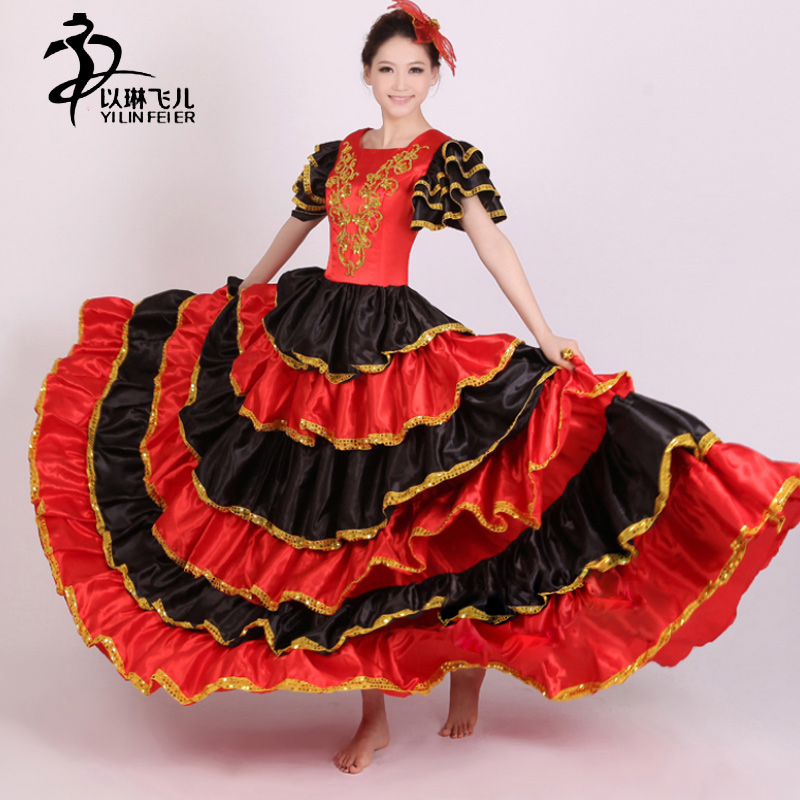 flamenco skirt 360 Spanish Senorita Flamenco Dancer Fancy Dress Costume  /Spanish Flamenco Dance