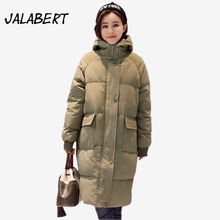 New Winter women cotton Hooded coats Female long loose Thicker Big pocket warm Parkas overdress zipper Solid jacket