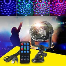 цены Mini RGB LED Stage Light 3W Remote Controls Light Disco Ball Lights LED Party Lamp Show Stage Lighting Effect USB Powered DV 5V