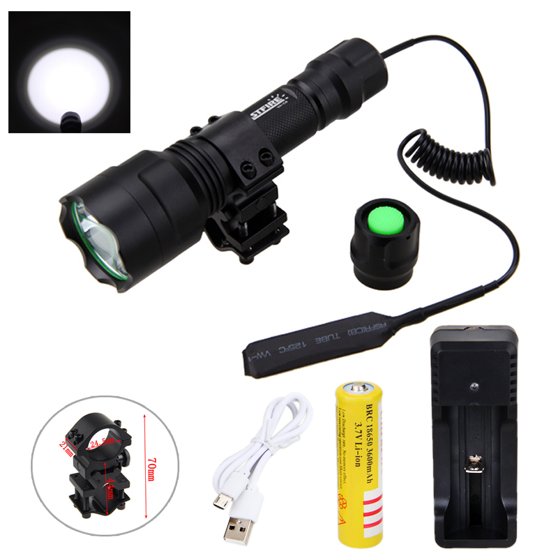 Tactical Light 2500lm XML T6/Q5  LED Hunting Light Torch+ Mount +Pressure Switch+18650 Battery+USB Charger+USB Line