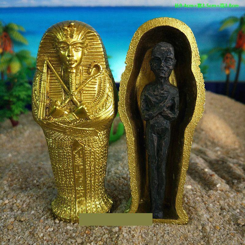 1pcs Resin Ancient Egyptian Coffin Figurine Sculpture Egypt Mummy Statue Small Ornaments Miniature Model Fish Tank Decoration