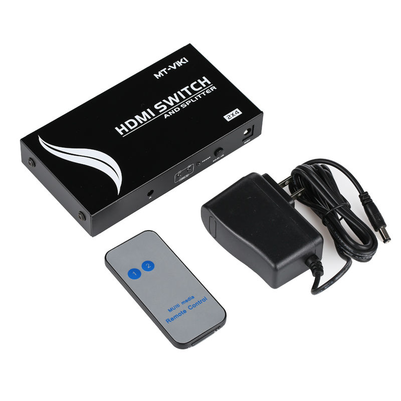HDMI 2 in 4 out Splitter Switch Distributor Selector 1.4 Output the Same 3D 1080p IR Remote Conrol HD2-4