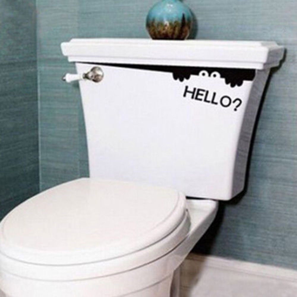 1 pcs diy hello originality funny peep monster toilet bathroom vinyl wall sticker decal art removable
