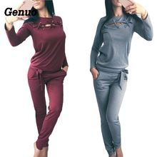 Genuo Women Two Pieces Sets Spring Autumn Casual Solid Fitness Set Long Sleeve Hoodies + Pants Tracksuit Sportswear