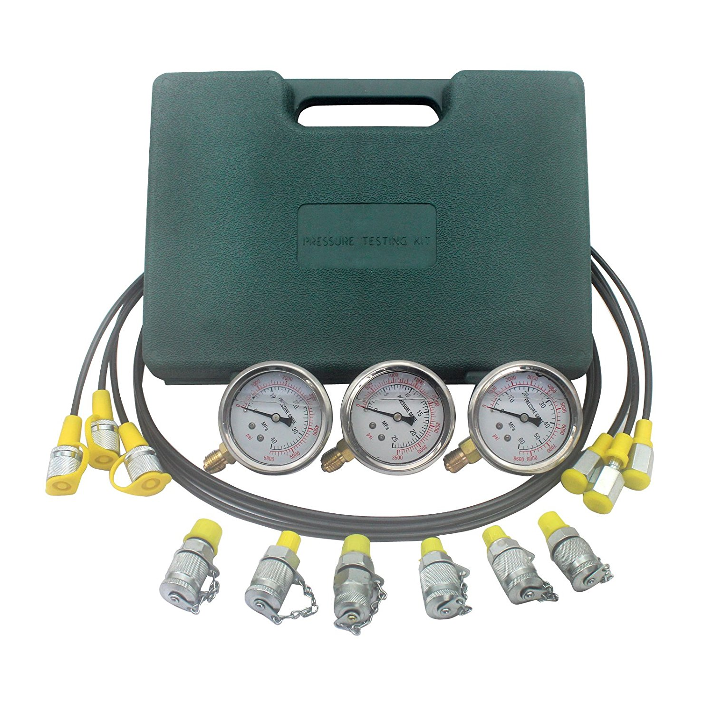Excavator Hydraulic Kit Stainless Steel Pressure Gauge Hydraulic Pressure Test Kit Hydraulic Test Gauge Kit for Excavators shoulder bag