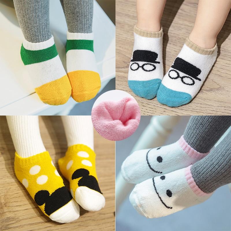 3 Pair Lot Kawaii Thickened Baby Girls Boy Socks 3D Cartoon Kids Thick Towel Socks For