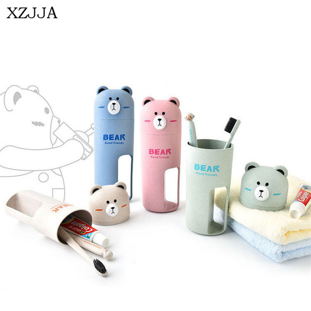 Xzjja Wheat Straw Cute Bear Bathroom Accessories Sets Travel Wash Cup Set Portable Toothbrush Toothpaste Box