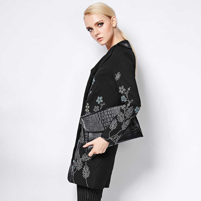 Long manteau 2017 automne hiver nouvelle mode bon femmes élégant à manches longues petites fleurs broderie noir Long Jakcet