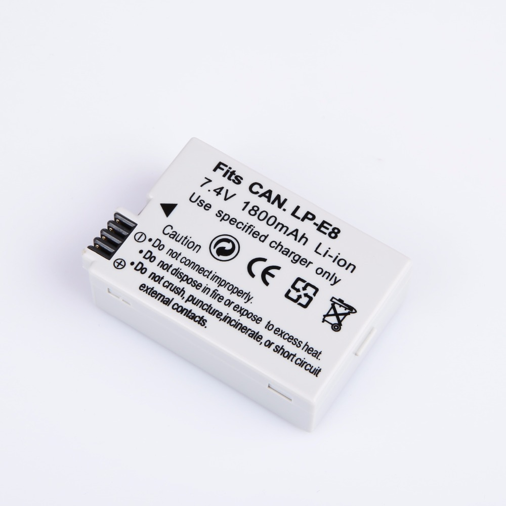 1800mAh LP-E8 LP E8 LPE8 Camera Rechargeable Battery Batteries For Canon EOS 550D 600D 650D 700D Rebel T2i EOS Kiss X4 X5 X6i X7