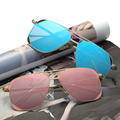 Oobon 2017 square aviator gafas de sol para hombres mujeres marco gafas hombre gafas de conducción piloto fresco teñido sunwear