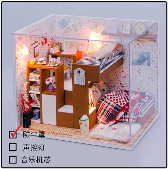 Hongda DIY wooden doll house kids bedroom miniature dollhouse D010