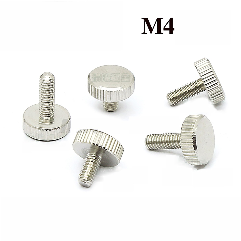 5/10Pcs GB835 <font><b>M4</b></font> Knurling Flat Head Knurled Thumb Screw Hand Tighten Computer Screws Length 4/6/8/10/12/14/16/<font><b>20mm</b></font> image
