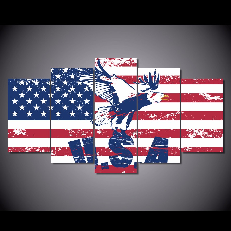 5 pièces/ensemble encadrée HD imprimé USA drapeau arrière-plan photo impression murale affiche toile peinture à l'huile abstraite toile Art