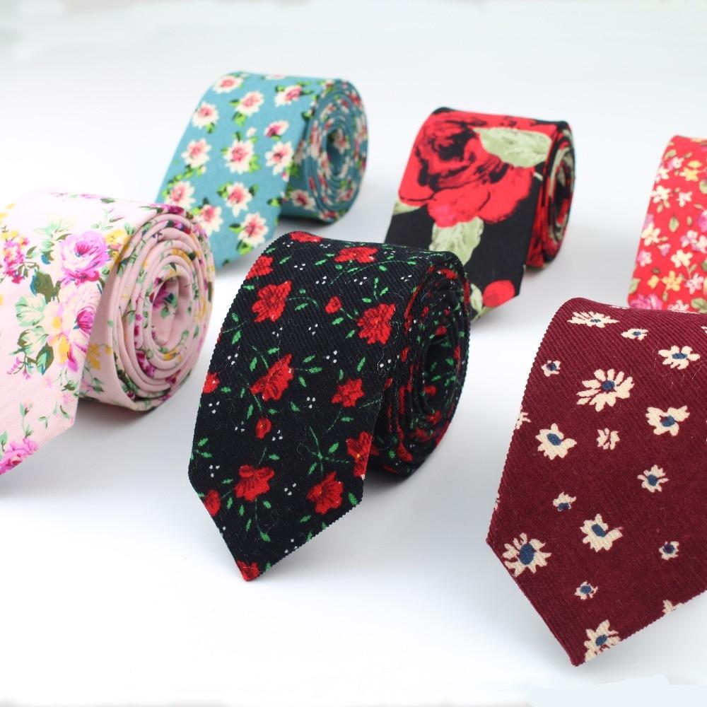 Cotton Rose Men's Colourful Tie Ties Necktie Narrow Chrysanthemum Slim Skinny Cravate Narrow Thick Neckties 6cm